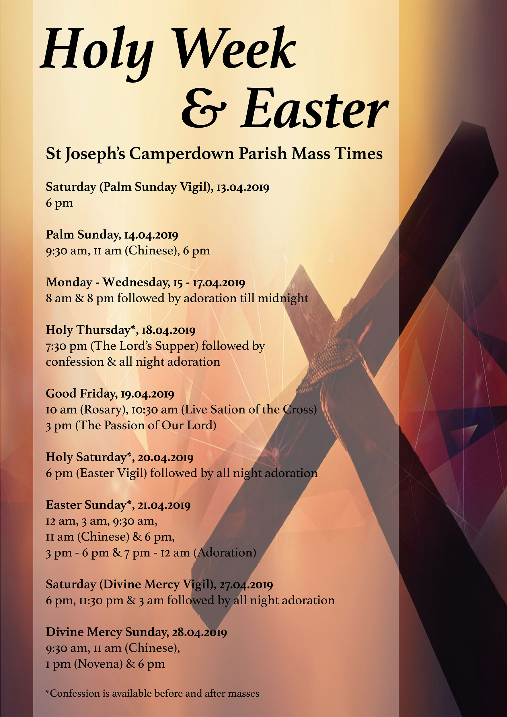 2019 Holy Week & Easter flyer